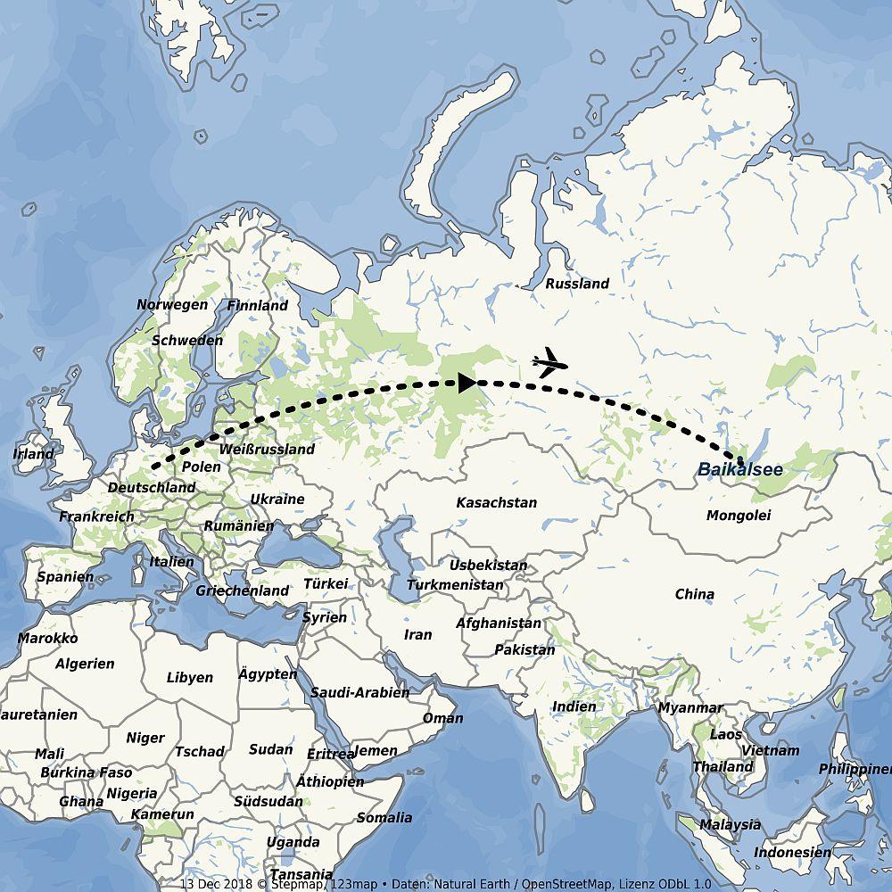 Flugroute Baikalsee