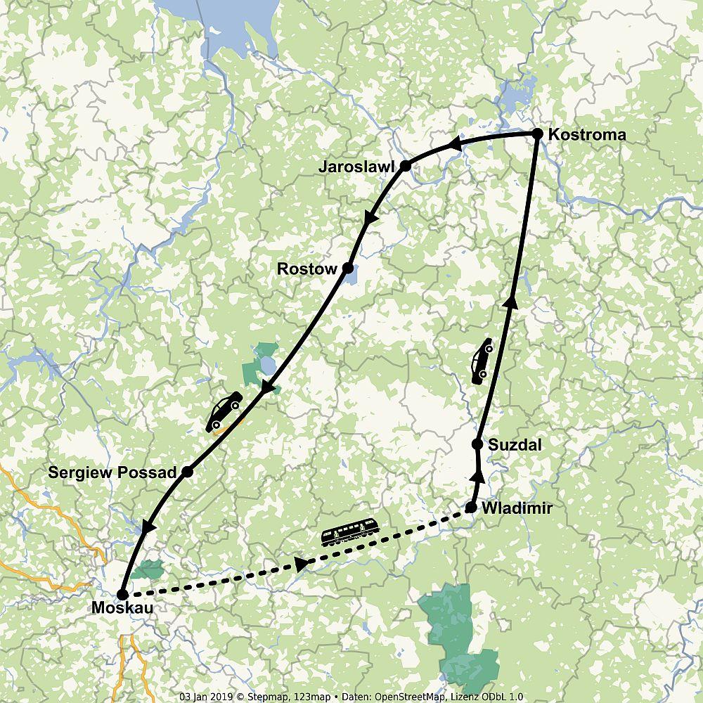 Route Moskau - Goldener Ring