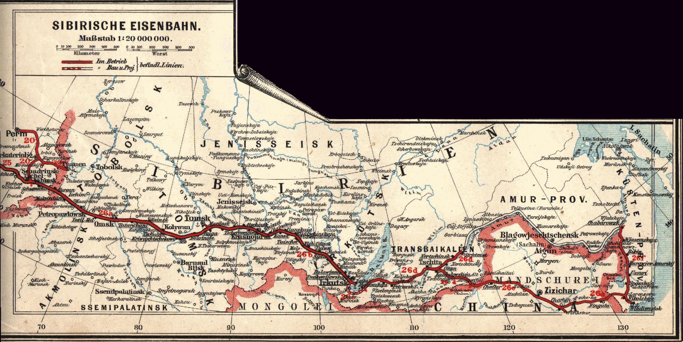 Karte der Transsibirischen Eisenbahn, 1897