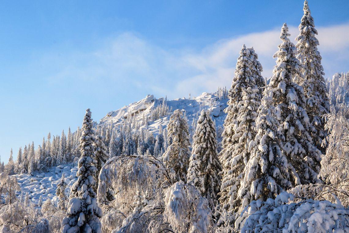 Uralgebirge im Winter